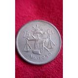 Moneda 25 Centavos De Plata Antigua Balanza 1950