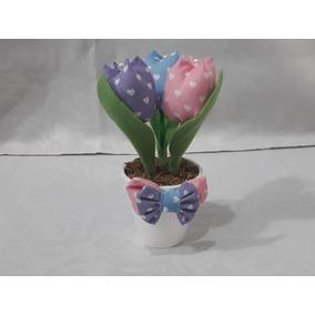 25 Vasinho Com 3 Tulipa Em Tecido - Lembrancinha