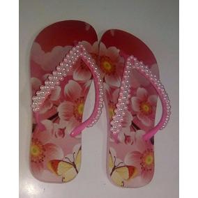 Chinelos Personalizados E Decorados Com Pérolas Rosa