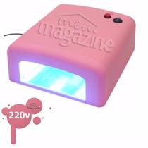 Cabine Estufa Forno Rosa Unha Gel Uv 36w 220v Manicure