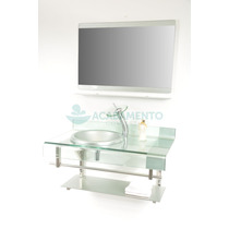 Gabinete De Vidro Banheiro 70cm Prata