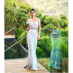 Vestido Longo Sereia Prata Bandagem Casamento Madrinha