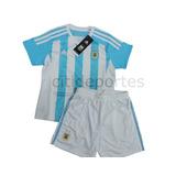 Camiseta Y Short Conjunto De Argentina Original P Niños,2015