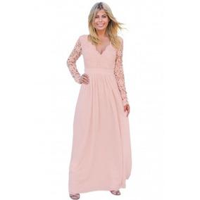 Vestido Fiesta Largo Rosa Escote Espalda Envío Gratis