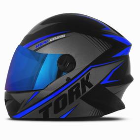 Capacete Moto Fechado R8 Viseira Iridium Pro Tork Azul