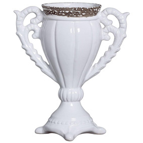 Vaso Decorativo De Cerâmica Esmaltada Branco 36x29,5 Cm