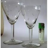 Copas De Bellisimo Cristal,con Exquisito Grabado De Estrella