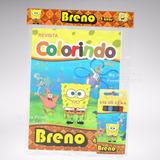 40 Kit Colorir Revistinha Lembrança Bob Esponja + Brindes