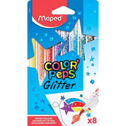 Marcadores Maped Colorpeps Glitter X8 Brillo Educando