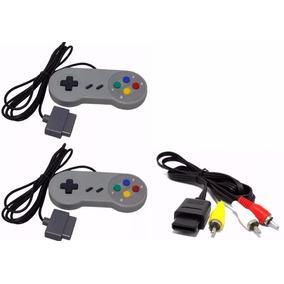 Kit Completo 2 Controles + Cabo Av - Super Nintendo Snes