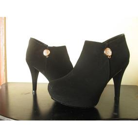 Botines Color Negro Matte Para Mujer Talla 37