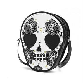 Bolsa Caveira Mexicana P&b 3d Rocker Lolita Harajuku Cosplay
