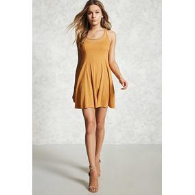 Forever 21 Vestido Trapecio Corto Transparencias Amarillo Xl