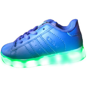 Zapatillas Azul Electrico Con Luces Led Recargable Usb