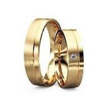 Par Aliança Quadrada Banhada A Ouro 6mm Com Pedrinha