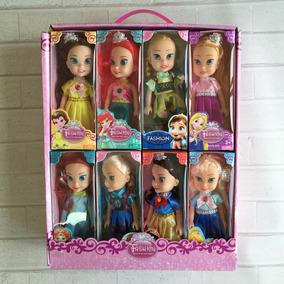 Disney Kit 8 Boneca Princesa Anime Elas Ana Neve Bela Ariel