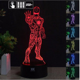 Lampara 3d Led Iron Man - Cambia 7 Colores