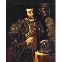 Lienzo Tela Retrato Hernán Cortés 65 X 50 Cm Arte Historia