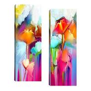 Par De Quadros Sala Quarto Corretor Abstrato Colorido 20x60