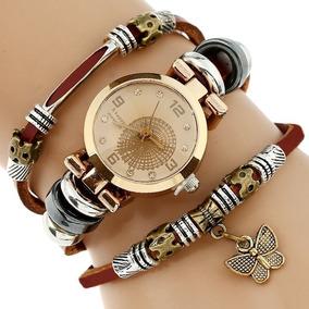 Reloj Vintage Cuero Genuino Dama Mujer Urban Moda Mariposa