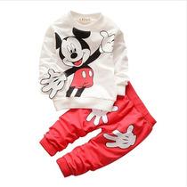 Conjunto Infantil Mickey, Calça Com Bolso, Manga Comprida