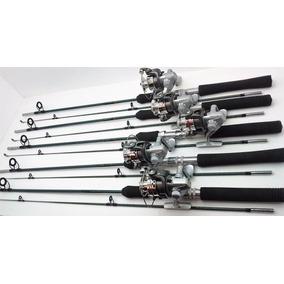 Kit Pesca 5 Molinetes C/ Linha E 5 Varas 1,20m Em Fibra
