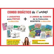 Combo Didáctico Ondulé - 3 Juguetes Para Pintar + 2 Libros