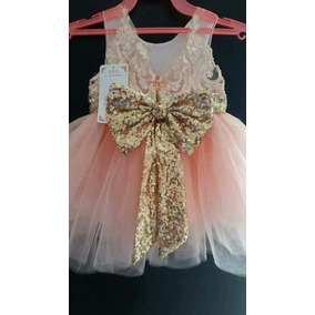 Vestido Niña Moño Lentejuela Tallas 4 5 6