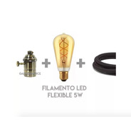 Lamparas Led Flexible Dimmerizable + Portalampara Vintage Metalico + Cable Textil