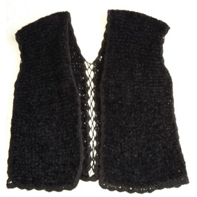 Chaleco Tejido Color Negro Con Bordes Al Crochet Talle 50