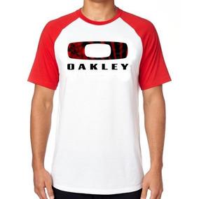 Camiseta Camisa Blusa Raglan Tamanho Oakley Marca Red Vermel