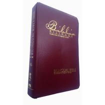 Bíblia Bilíngue Espanhol Inglês Capa Vinho Luxo Índice