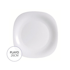 Plato Playo Luminarc Carine Blanco 26cm Vidrio Templado X6u