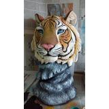 Busto De Tigre En Yeso.