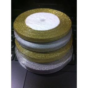 Cintas Glitter Nuevas Color Plata Y Oro 23.5mt.