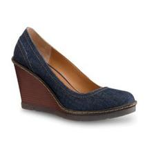 Zapatos Wedges Andrea # 26, Tacón 9 , Plataforma 2, Mezclill