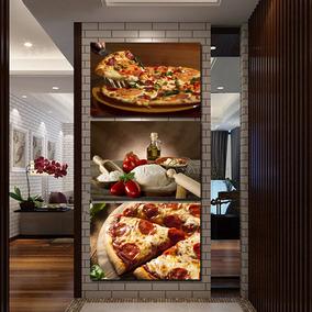 Quadro 120x60 Decorativo Pizza Lanche Cozinha Bolo Suco Açaí