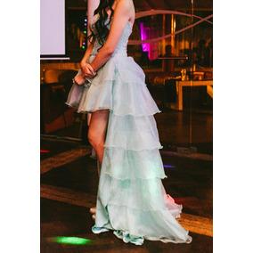 Vestido De 15 Años Aqua Marina Corto Con Cola Desmontable