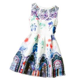 Lindo Vestido De Niña Blanco Con Estampado Floral Casual