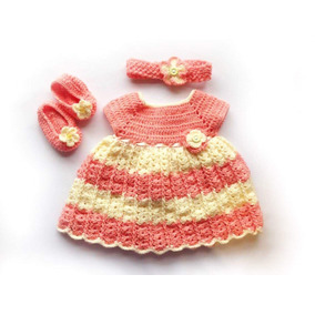 Vestido De Bebé Tejido A Mano 0-3 Meses