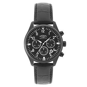 Rotary Hombres Gs Aquaspeed Negro Reloj De Cuero Genuino