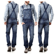 Macacão Jardineira Masculina Jeans Escura 40 Promoção