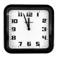 Relógio De Parede Eurora Cozinha Sala Quadrado Preto 6540