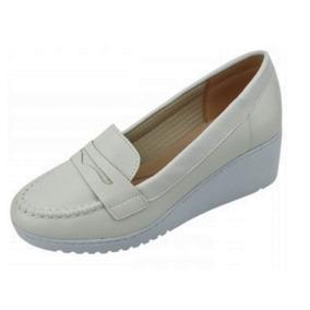 Sapato Branco Enfermagem Mocassim Azaleia Leve Salto Anabela