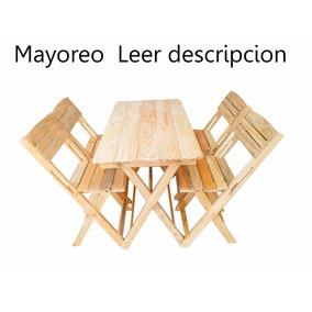 Set Mesa 120x60 Y 4 Silla Madera Precio Mayoreo Envio Gratis