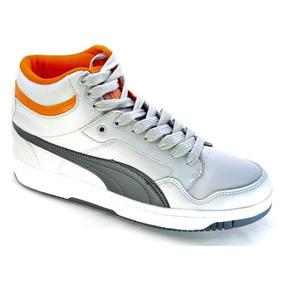 Zapatillas Botitas Puma Rebound V2 Hi Gris Claroc/naranja