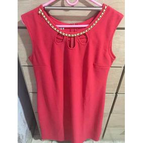 Vestido Largo Color Coral Elegante Talle Xl