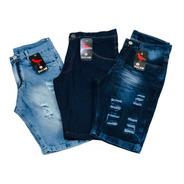 Kit 3 Bermudas Jeans Masculina Rasgada Original Short Jeans