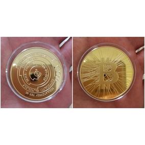 Moeda Bitcoin Comemorativa Exclusiva Banhada Ouro Ou Prata