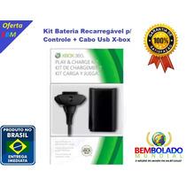 Kit Bateria Controle Recarregável + Cabo Usb Xbox 360 Top
